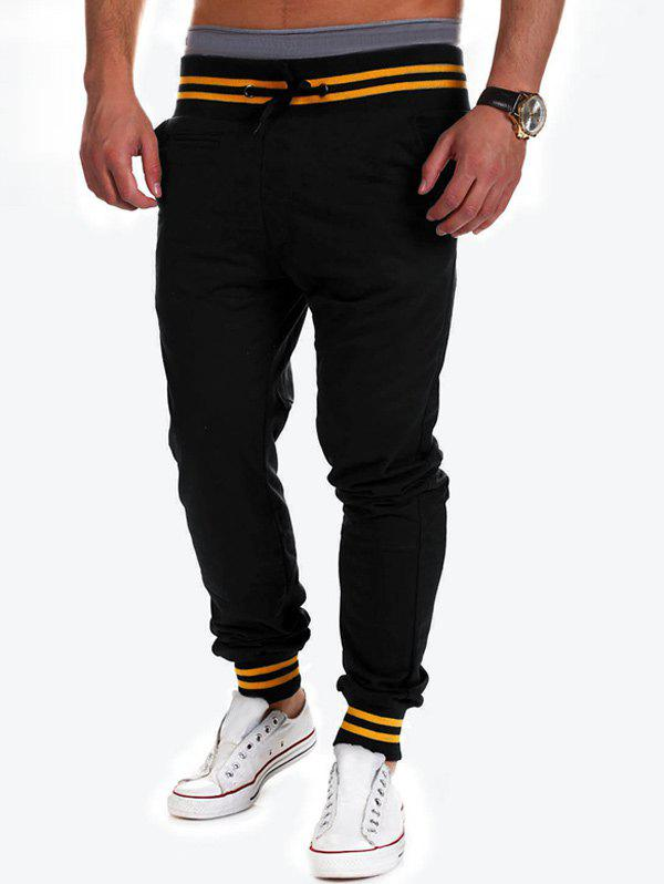 Lace-Up Beam Feet Color Block Stripe Spliced Jogger Pants - BLACK M