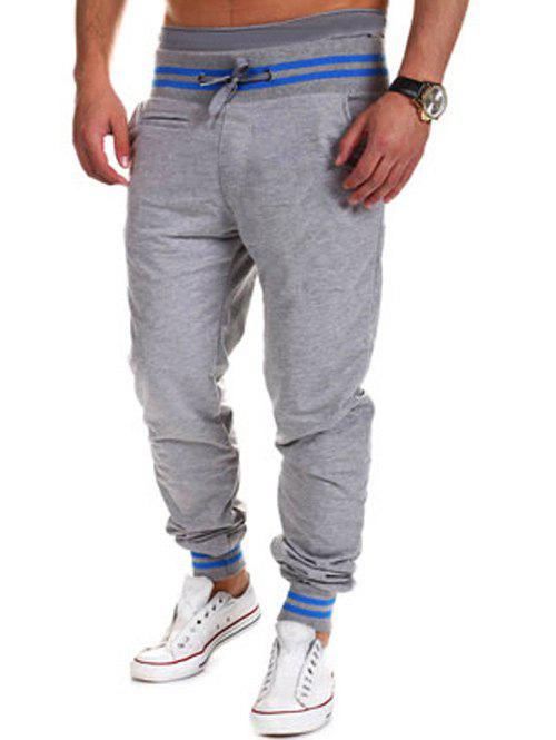 Lace-Up Beam Feet Color Block Stripe Spliced Jogger Pants - LIGHT GRAY M