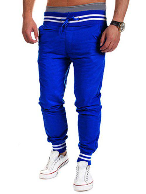 Lace-Up Beam Feet Color Block Stripe Spliced Jogger Pants - SAPPHIRE BLUE M
