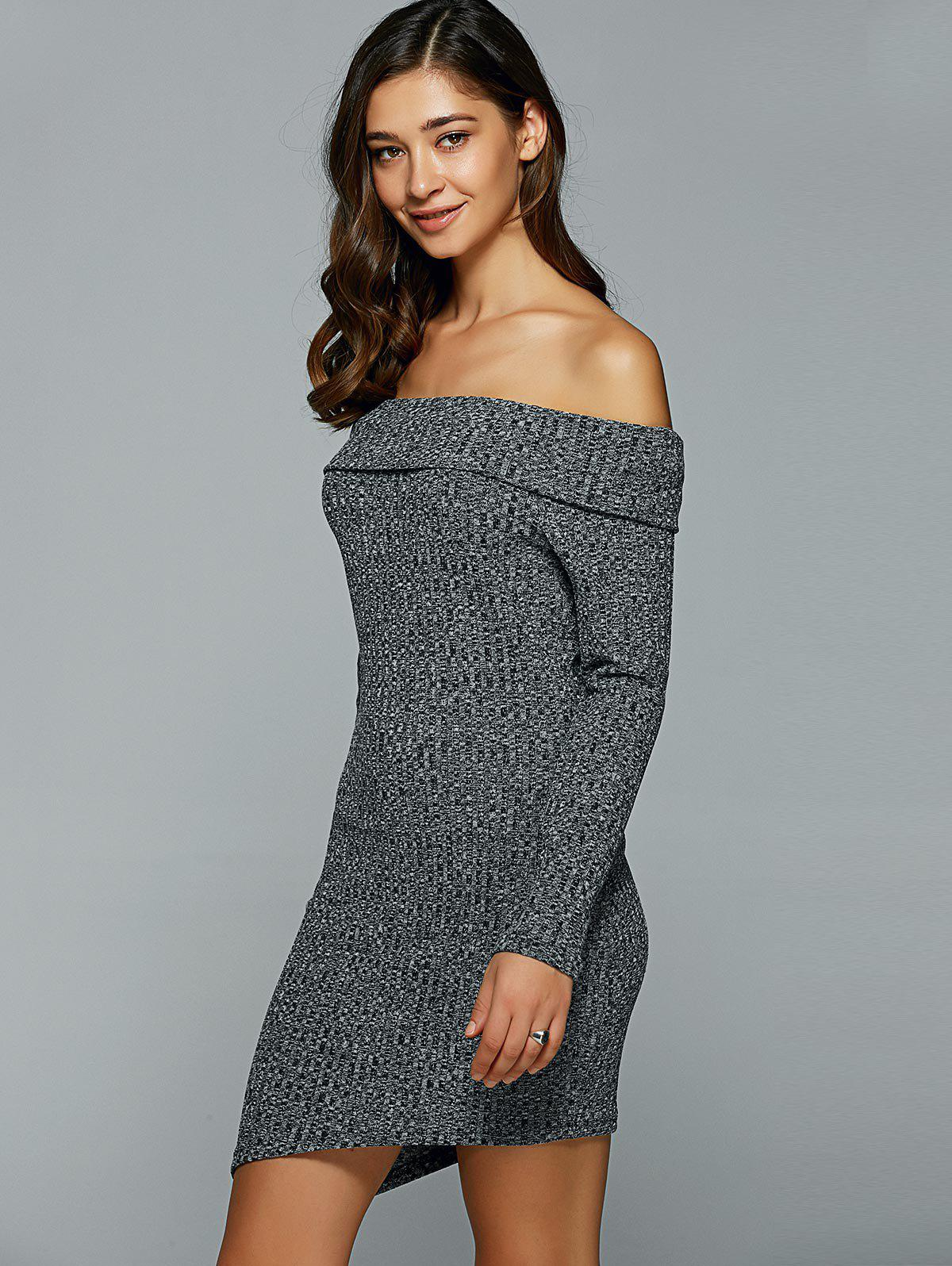 Off-The-Shoulder Heather Asymmetrical Jumper Dress - GRAY S