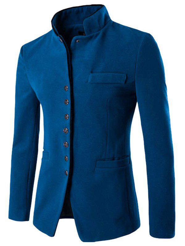 Single-Breasted Stand Collar Slimming Wool BlazerMen<br><br><br>Size: XL<br>Color: LAKE BLUE
