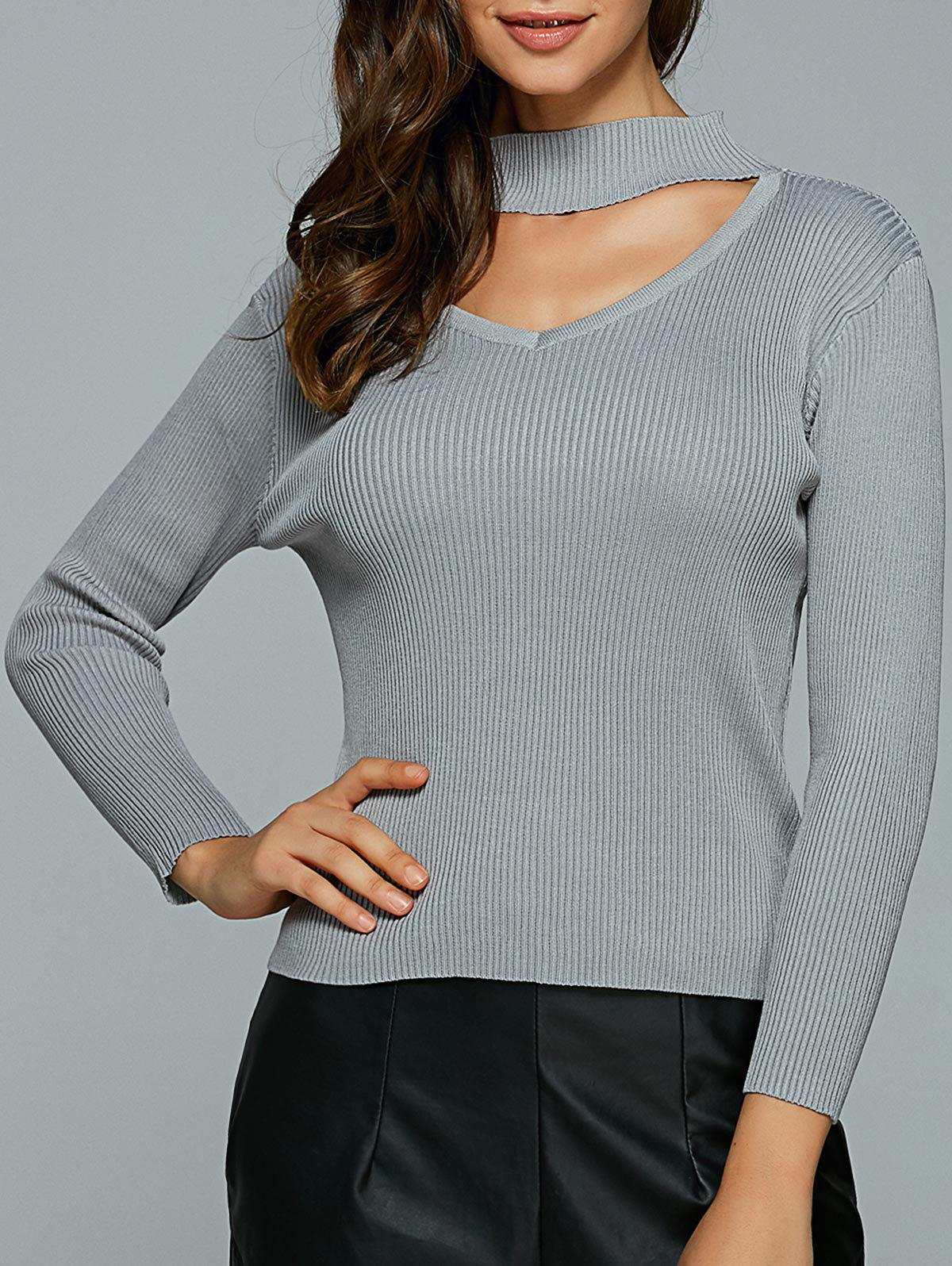 Hollow Out Ribbed Knitted Pullover блуза morgan morgan mo012ewvae52