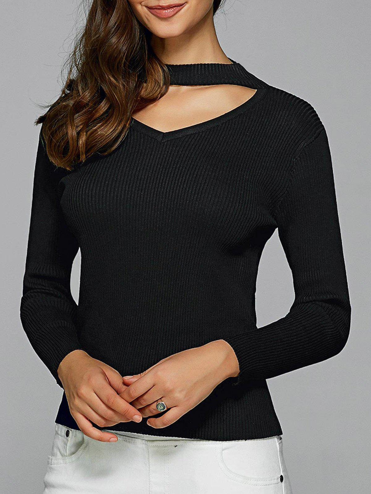 Hollow Out Ribbed Knitted Pullover 195050207