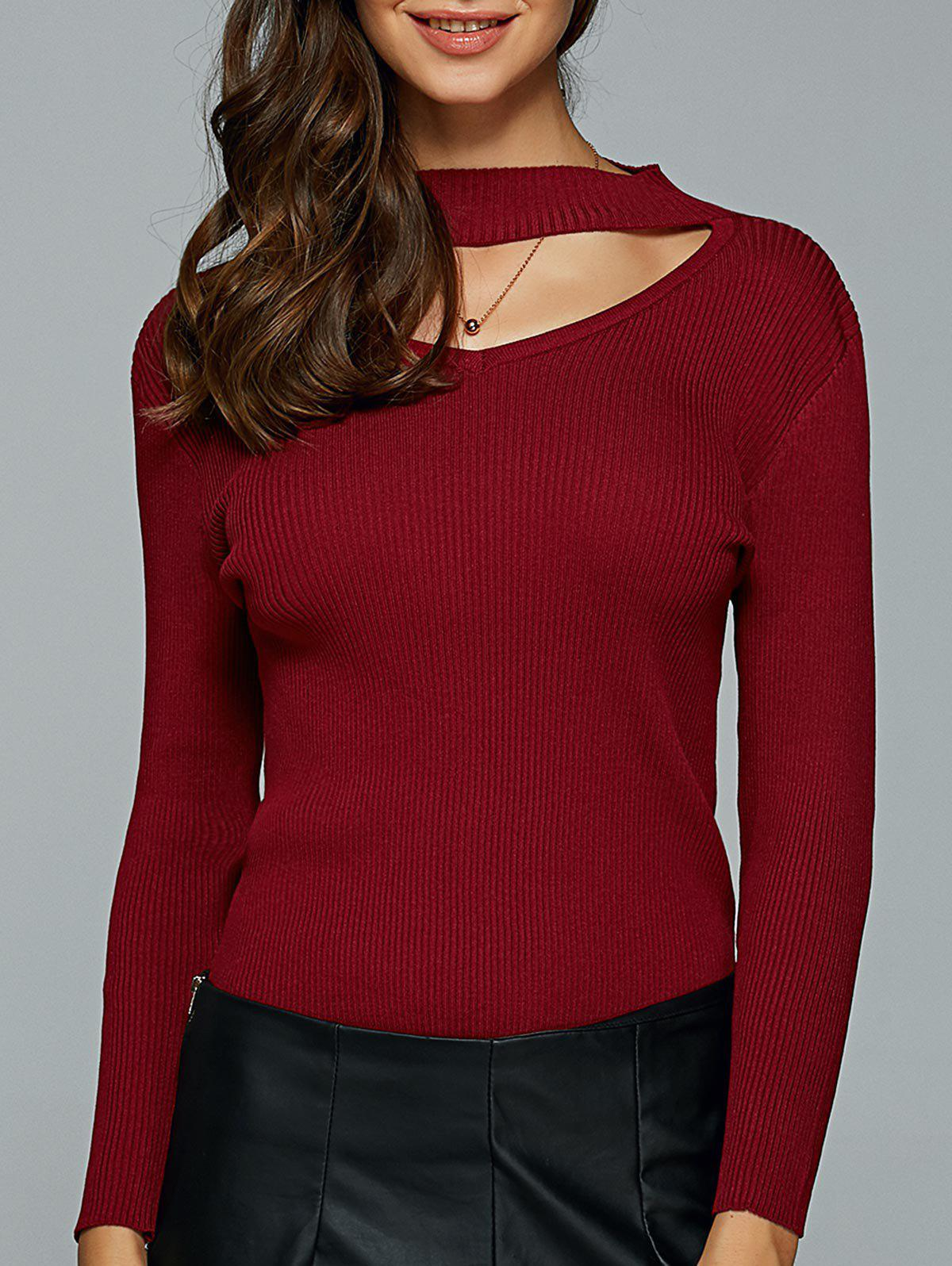 Hollow Out Ribbed Knitted Pullover - WINE RED S