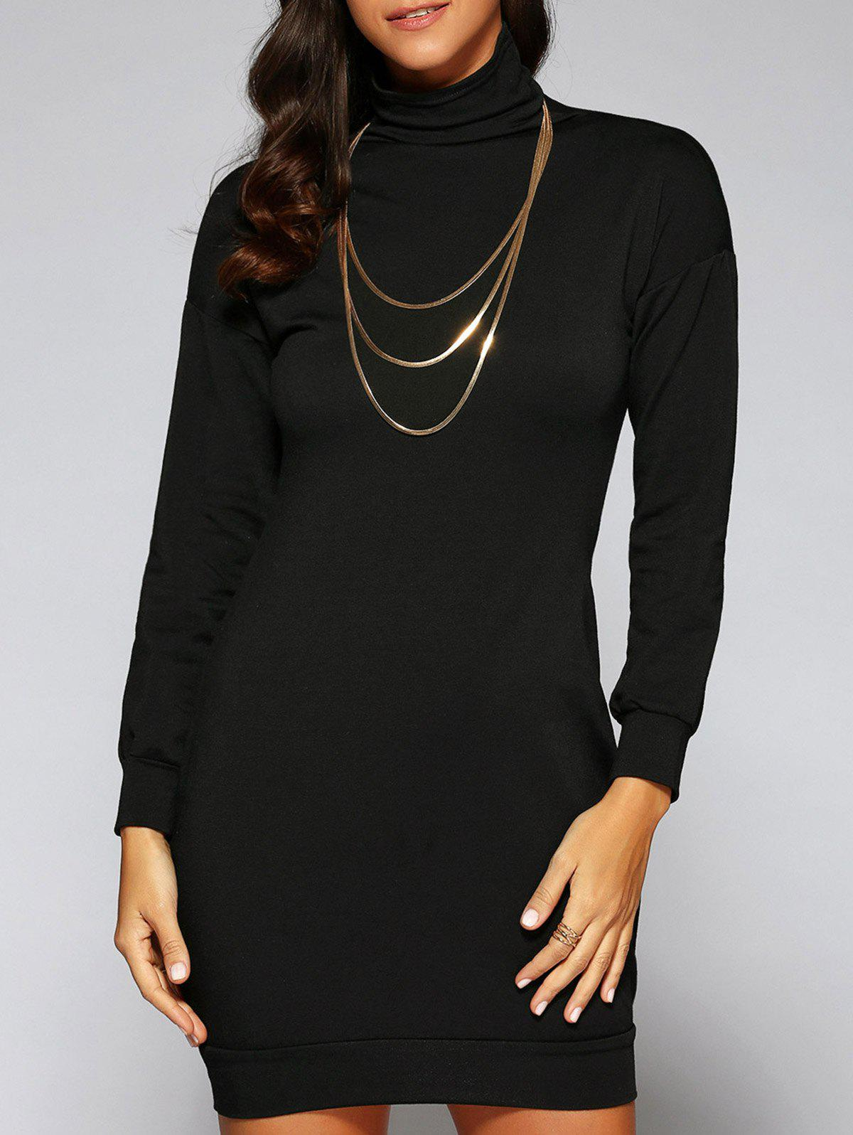Turtle Neck Massimo Dress - BLACK S