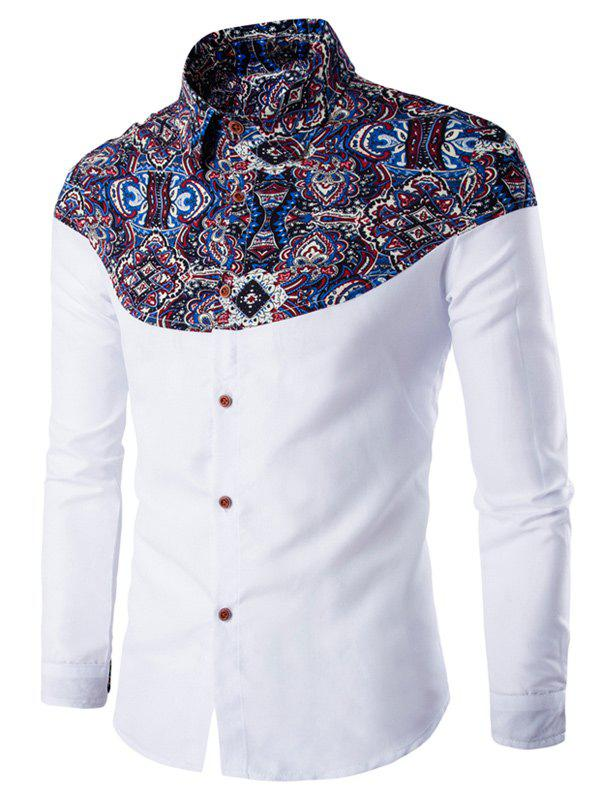 Turn-Down Collar Long Sleeve Ethnic Style Pattern Spliced Shirt - WHITE 2XL