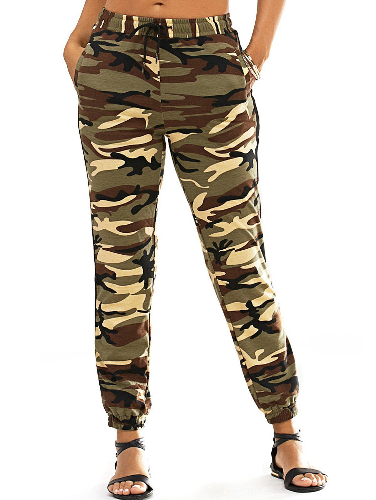 Fashionable Narrow Feet Lace-Up Camo Print Womens PantsWomen<br><br><br>Size: L<br>Color: ARMY GREEN CAMOUFLAGE