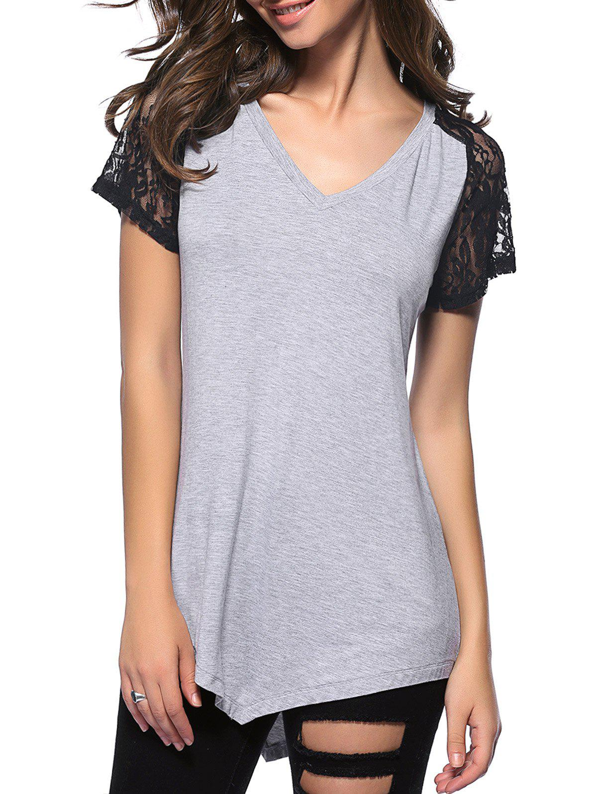 Casual Women's V-Neck Short Sleeve Shrink Fold Lace T-Shirt - LIGHT GRAY XL