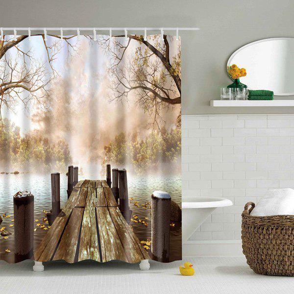 Nature Scenery Printed Polyester Waterproof Shower Curtain - COLORMIX L