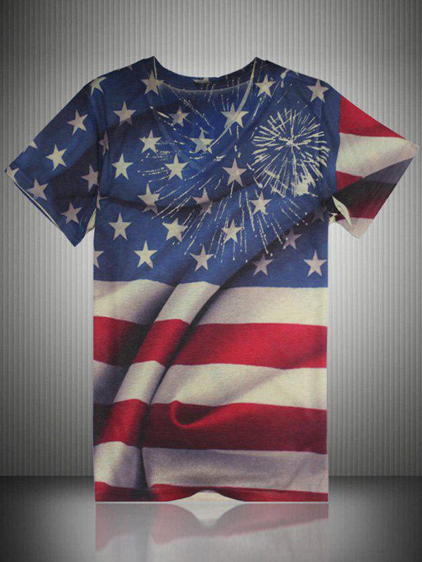 V Neck Distressed American Flag Print T-Shirt - COLORMIX 4XL