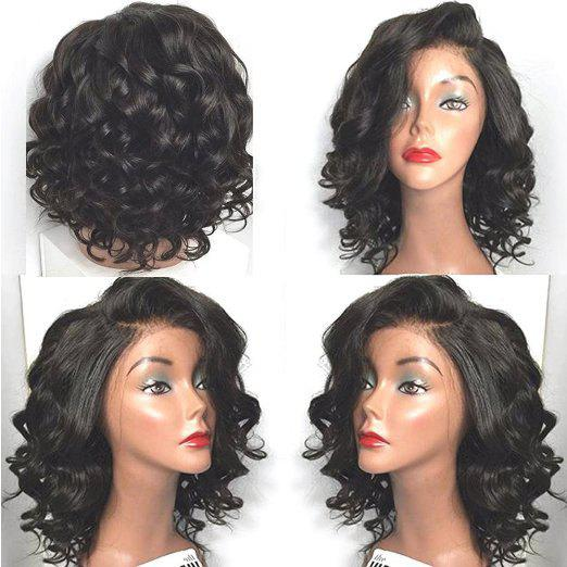 Short Side Parting Wavy High Temperature Fiber Lace Front Wig - BLACK