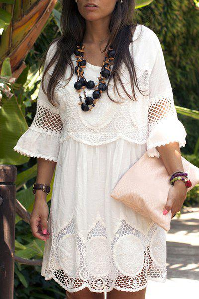Fashionable Women's Scoop Neck 3/4 Sleeve Lace Splicing Dress - WHITE S