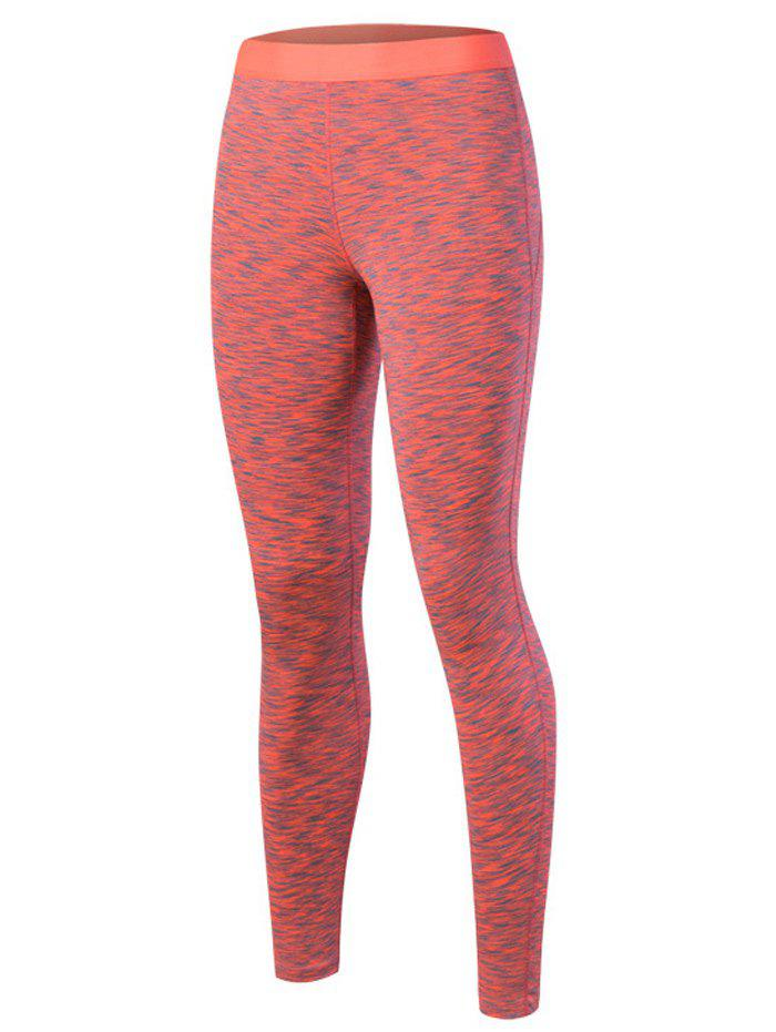 Printed High Waisted Yoga Leggings - ORANGE RED M