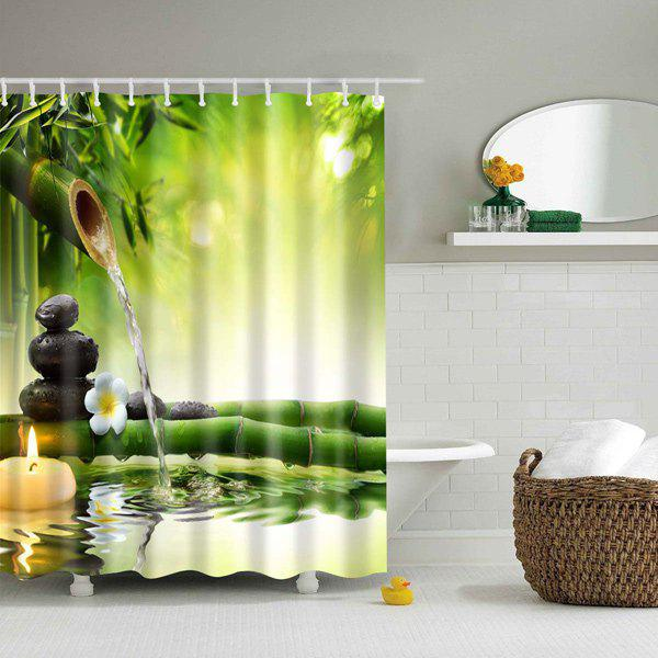 2018 Natural Bamboo Polyester Waterproof Shower Curtain