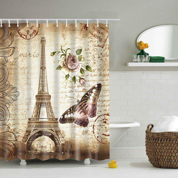 Waterproof Eiffel Tower Floral Polyester Shower Curtain - COLORMIX L