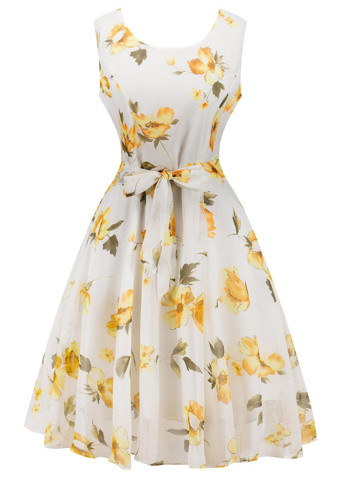 Chiffon Floral Knee Length Belted Flare Dress - WHITE M