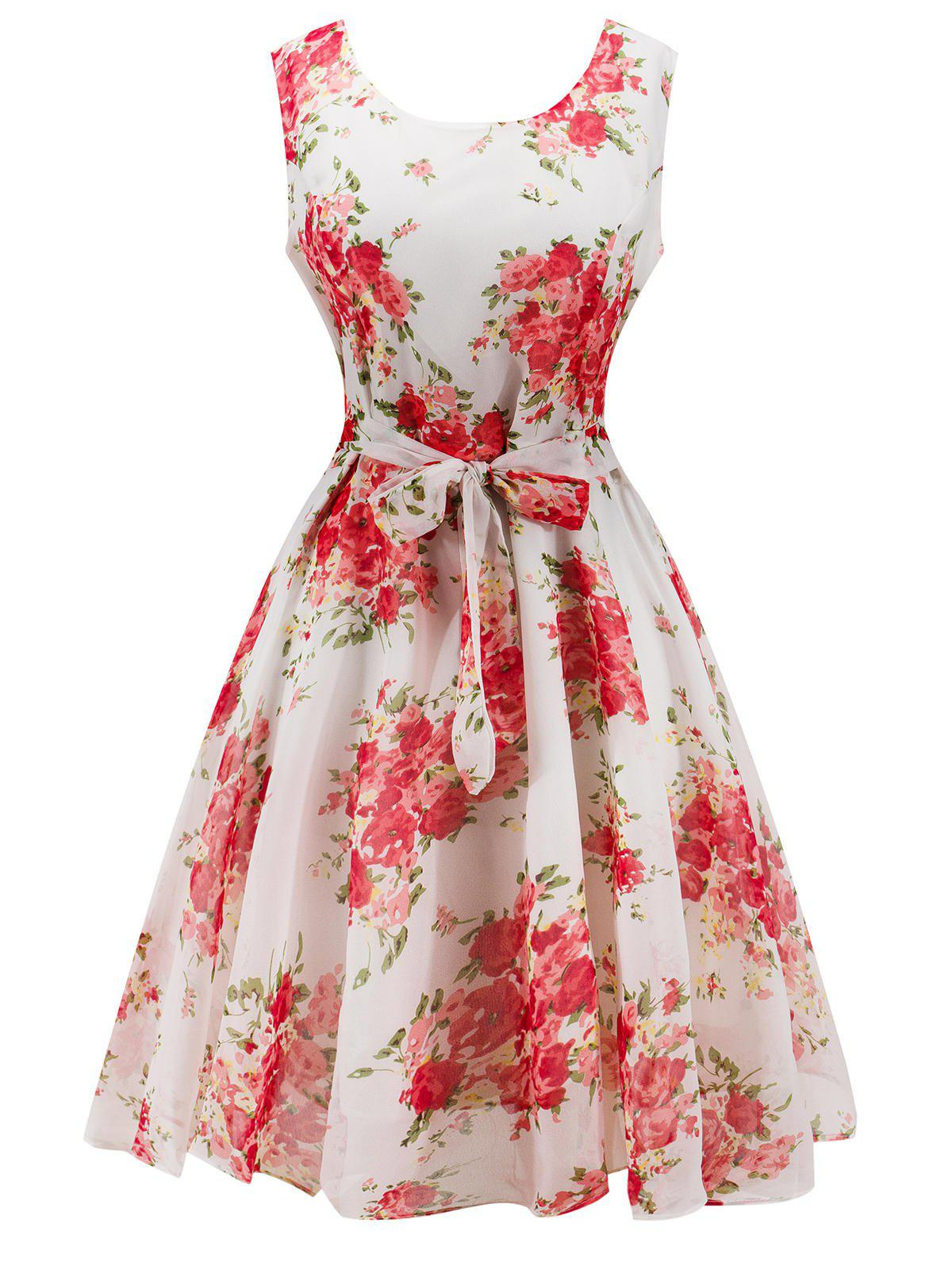 Knee Length Floral Belted Flare Dress - WHITE M