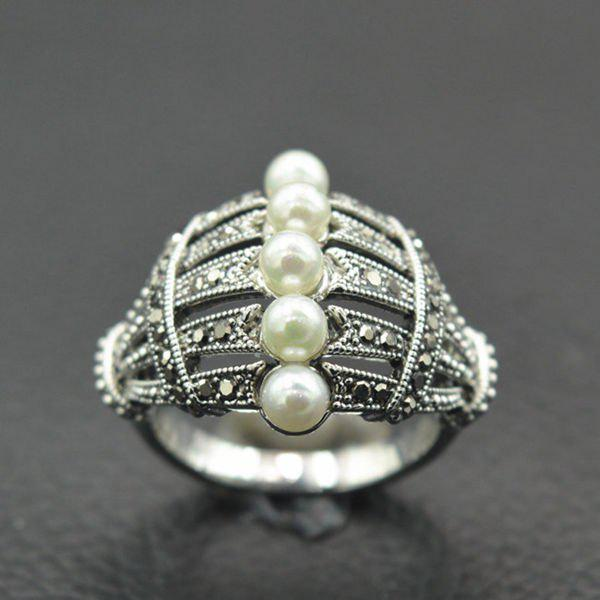 Hollow Rhinestone Faux Pearl Beaded Ring