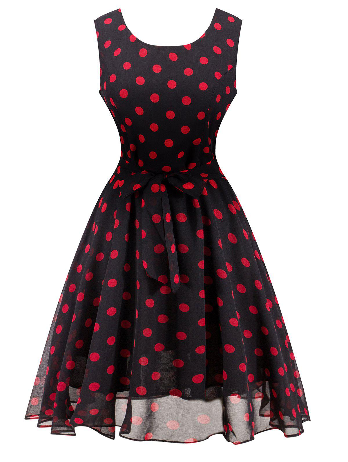 Retro Belted High Waisted Polka Dot Dress - BLACK M