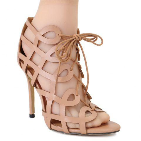 Fashionable PU Leather and Stiletto Heel Design Women's Sandals - DARK APRICOT 36