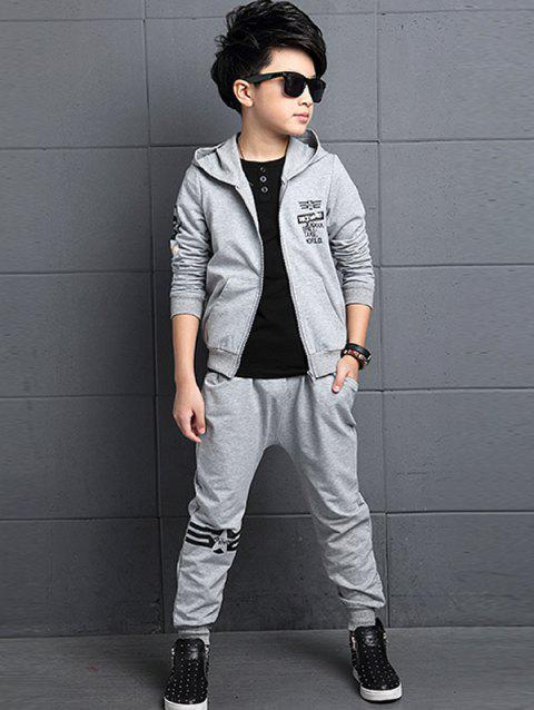 Graphic Printed Hoodie + Jogger Pants Sportive Twinset - GRAY 160