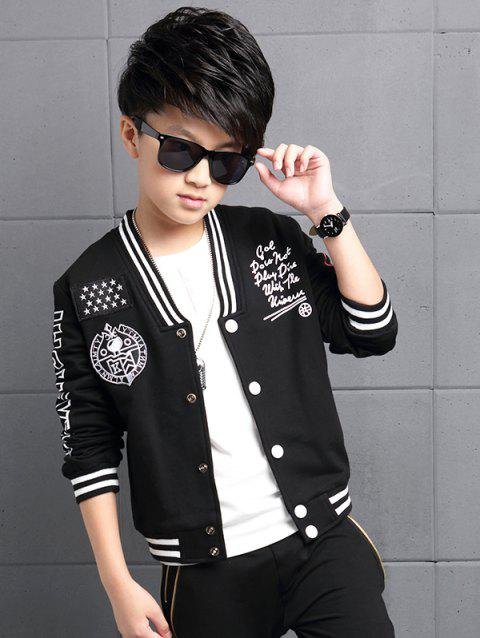 Abstract Printed Striped Baseball Jacket - BLACK 170