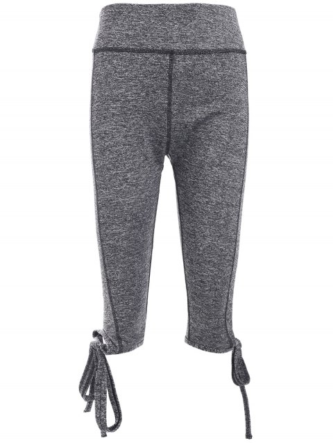 Elastic Waist Self Tie Capri Gym Pants - GRAY L
