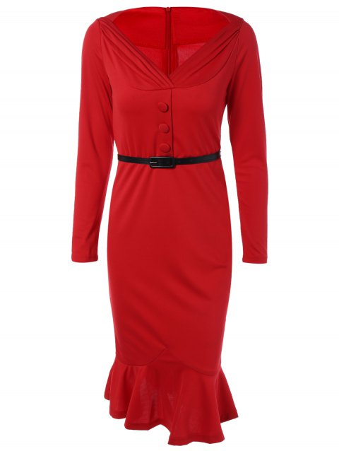 Belted Packet Buttock Long Sleeve Mermaid Dress - RED 3XL