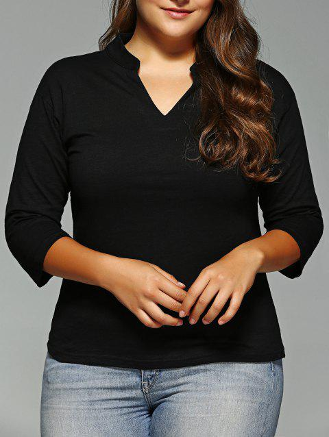 Plus Size V-Neck Tee - Noir XL