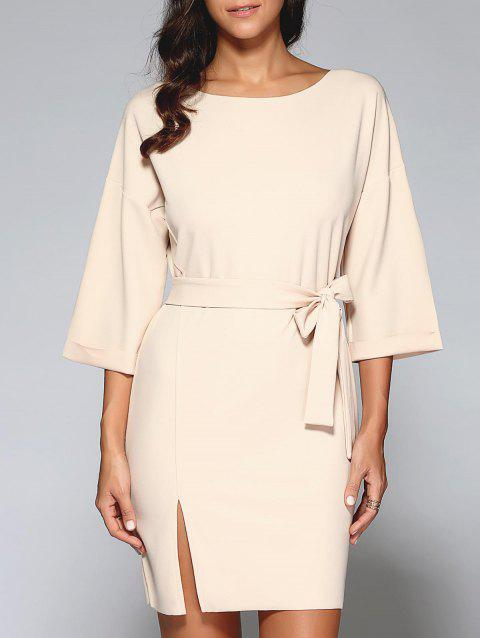 Belted Slit OL Dress - NUDE L