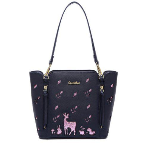 Embroidery Fawn Print Shoulder Bag - BLUE