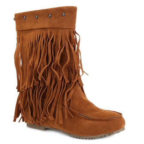 Studded Fringe Mid Calf Boots - BROWN 39