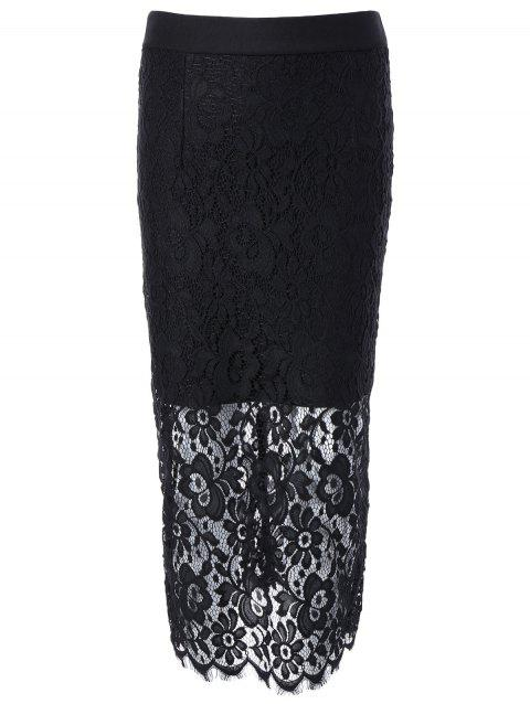 High Waisted Lace Spliced Pencil Skirt - BLACK ONE SIZE