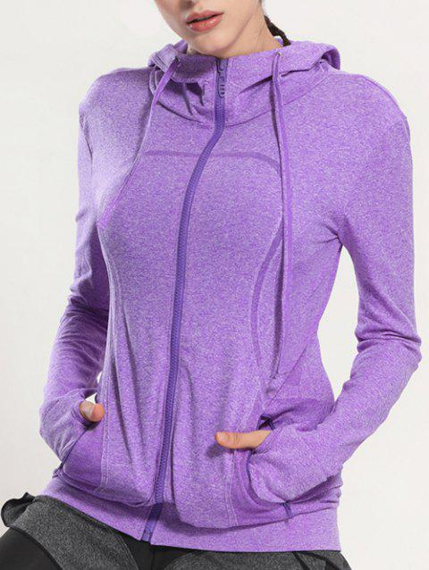 Quick Dry Hooded Sporty Coat - PURPLE L