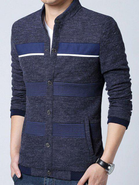 Pied de col en tricot Blends Stripe Splicing design Cardigan - Cadetblue XL