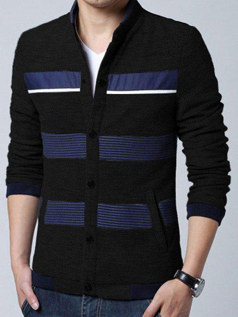 Pied de col en tricot Blends Stripe Splicing design Cardigan - Noir 2XL