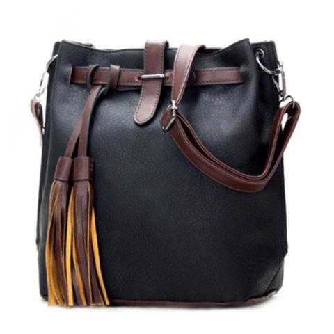 Casual Tassels and PU Leather Design Women's Crossbody Bag - BLACK