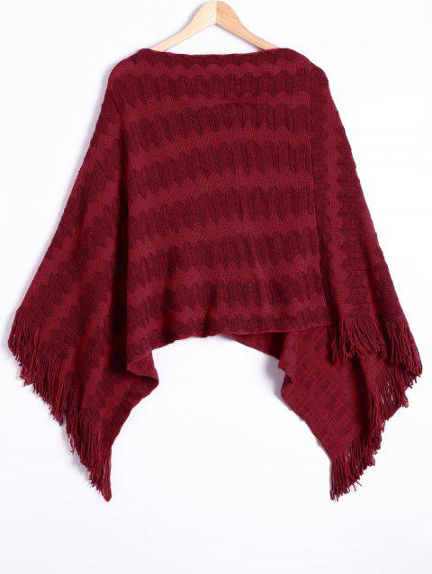 Fringe Jacquard Knitting Cape - CLARET ONE SIZE