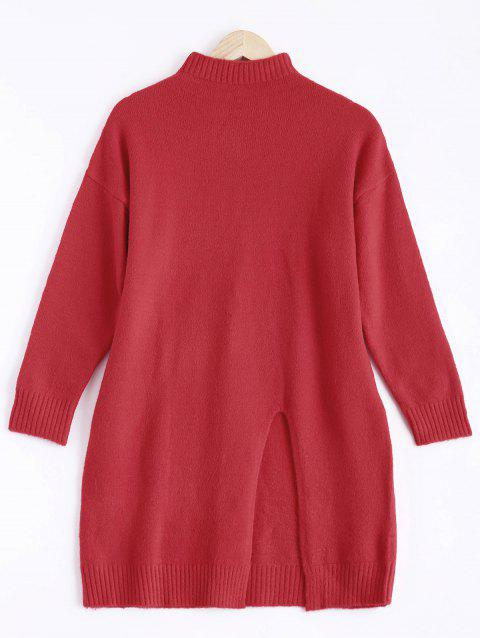 Col haut Slit Sweater - Rouge ONE SIZE
