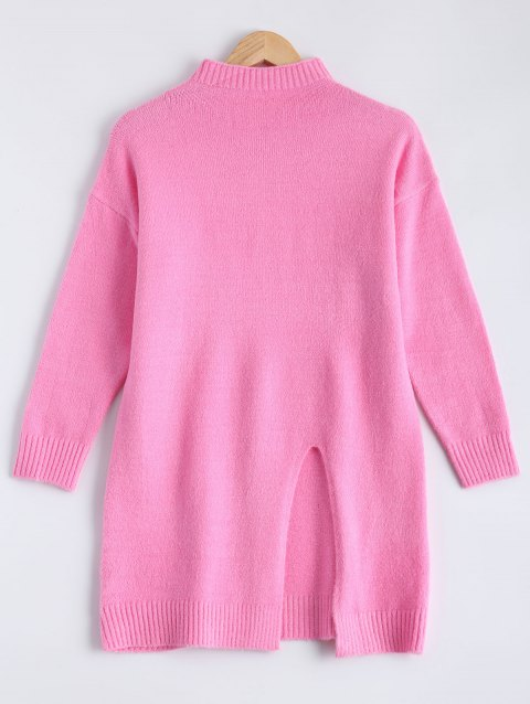 Col haut Slit Sweater - Rose ONE SIZE