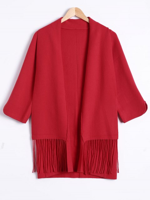 Manches 3/4 frangée large Waisted Cardigan - Rouge ONE SIZE