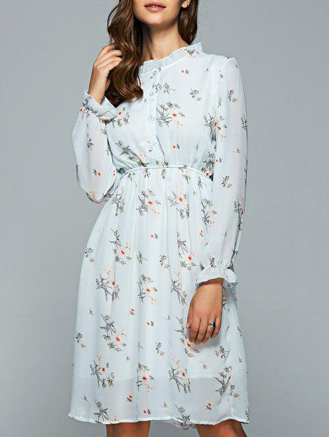 Ruff Collar Long Sleeve Elastic Waist Floral Dress - LIGHT BLUE M
