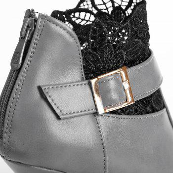 Fashionable Zipper and Buckle Design Women's Ankle Boots - GRAY 39