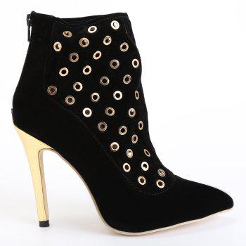 Sexy Hollow Out and Metal Design High Heel Boots For Women - BLACK 39