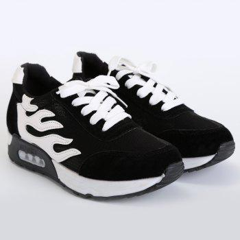 Mesh Suede Panels Breathable Sneakers - BLACK 39