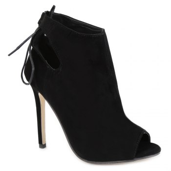 Fashionable Black and Hollow Out Design Women's Peep Toe Shoes - BLACK BLACK