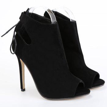 Fashionable Black and Hollow Out Design Women's Peep Toe Shoes - BLACK 38