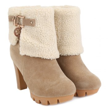 Fashionable Suede and Metal Design Short Boots For Women