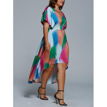 Plus Size Feather Print Casual High Low Dress With Sleeve - XL XL