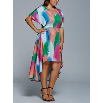 Plus Size Feather Print Casual High Low Dress With Sleeve - COLORMIX XL